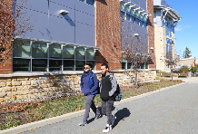 Students walking near Rowley Center