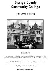 Cover of SUNY Orange Fall 2008 College Catalog