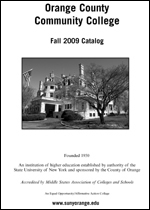 Cover from SUNY Orange Fall 2009 College Catalog