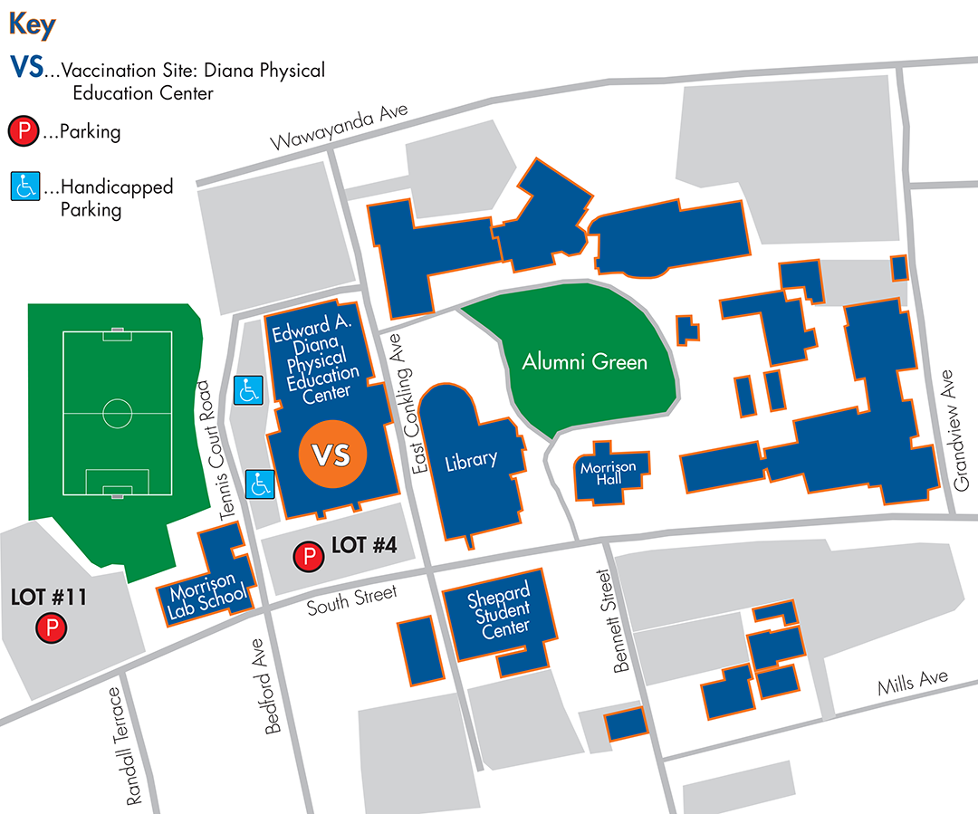 Middletown Campus Map with Vaccination Site