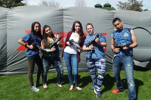 Students participate in Laser Tag at picnic.