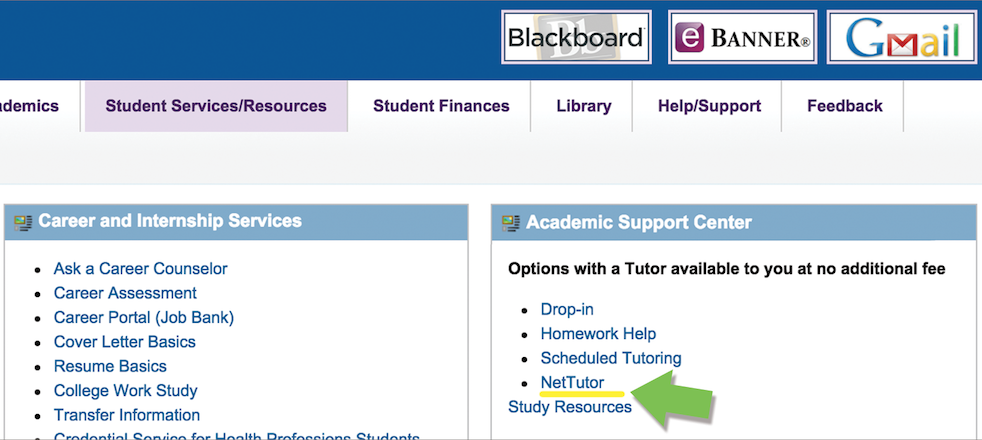 NetTutor link in Academic Support Center portlet