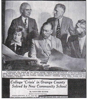 Newspaper clipping (New York Times, July 23, 1950): College 'Crisis' in Orange County Solved by New Community School