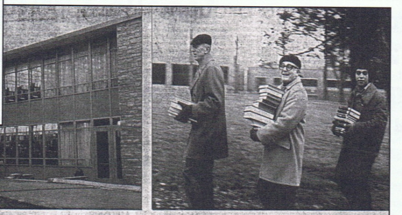 Photo: Student, faculty, and staff carry books across the Alumni Green from the Sarah Wells Building to the newly built Learning Resource Center in 1974