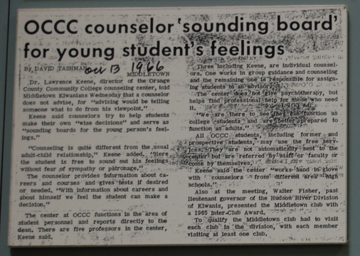 1966 Times Herald Record article about OCCC Counseling Center