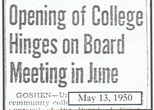 Newspaper clipping(May 13, 1950): Opening of college hinges on board meeting in June