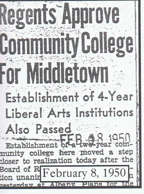 Newspaper clipping (Feb 8, 1950): regents approve community college for Middletown