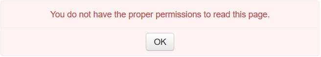 Error message: You do not have the proper permissions to read this page error
